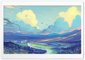 River Valley, Flying Birds, Landscape Ultra HD Wallpaper for 4K UHD Widescreen desktop, tablet & smartphone