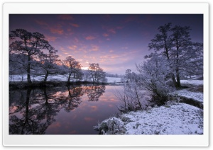 River Winter Evening Trees HD Wide Wallpaper for Widescreen