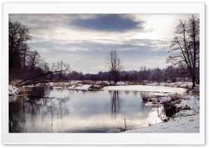 River Winter Scenery HD Wide Wallpaper for Widescreen
