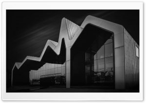 Riverside Museum Architecture, Glasgow, Scotland, Black and White Ultra HD Wallpaper for 4K UHD Widescreen desktop, tablet & smartphone