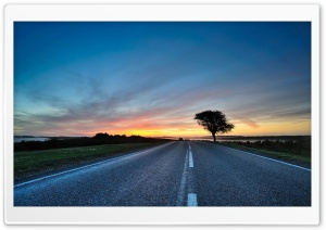 Road At Sunrise HD Wide Wallpaper for Widescreen
