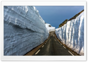 Road Between Ice Rocks HD Wide Wallpaper for Widescreen