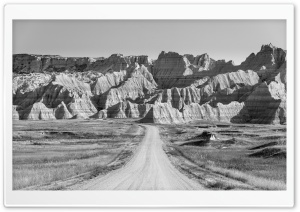 Road to Badlands National Park, Black and White Ultra HD Wallpaper for 4K UHD Widescreen desktop, tablet & smartphone