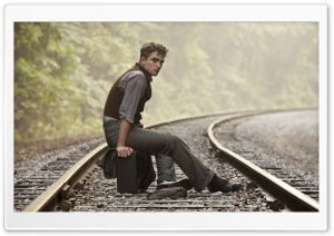 Robert Pattinson On Rail Track HD Wide Wallpaper for Widescreen