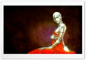 Robot Vintage Illustration HD Wide Wallpaper for 4K UHD Widescreen desktop & smartphone