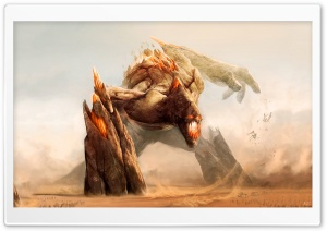 Rock Monster Painting HD Wide Wallpaper for Widescreen