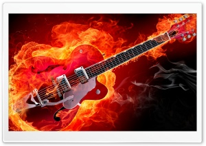 Rockabilly Electric Guitar on Fire Ultra HD Wallpaper for 4K UHD Widescreen desktop, tablet & smartphone