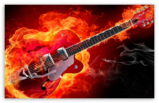 Rockabilly Electric Guitar On Fire Ultra Hd Desktop Background Wallpaper For 4k Uhd Tv Tablet Smartphone