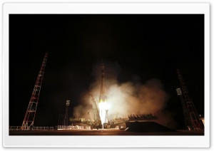 Rocket Launch Night HD Wide Wallpaper for Widescreen