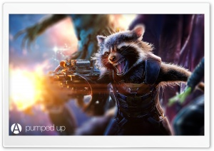 Rocket Raccoon Pumped Up by Awesome Design Studio HD Wide Wallpaper for Widescreen