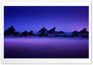 Rocks Layers Sea Mist HD Wide Wallpaper for Widescreen