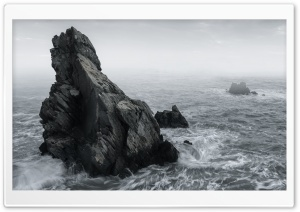Rocks, Mist, Rough Sea, Stormy Weather Ultra HD Wallpaper for 4K UHD Widescreen desktop, tablet & smartphone