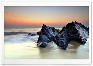 Rocks On Sea Shore HD Wide Wallpaper for 4K UHD Widescreen desktop & smartphone