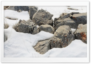 Rocks On The Snow HD Wide Wallpaper for 4K UHD Widescreen desktop & smartphone