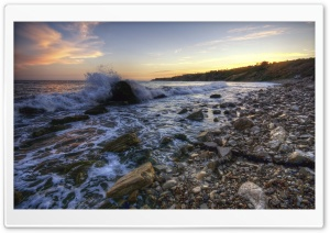 Rocky Beach At Sunset HD Wide Wallpaper for Widescreen