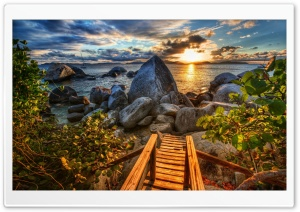 Rocky Shore HDR HD Wide Wallpaper for Widescreen