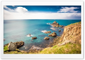 Rocky shorelines at Lands End, Cornwall, United Kingdom HD Wide Wallpaper for 4K UHD Widescreen desktop & smartphone