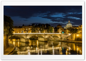 Rom Petersdom Tiber by night Ultra HD Wallpaper for 4K UHD Widescreen desktop, tablet & smartphone