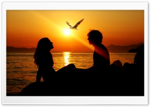 Romantic Couple Sunset HD Wide Wallpaper for Widescreen