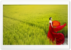 Romantic Lady In Red HD Wide Wallpaper for 4K UHD Widescreen desktop & smartphone