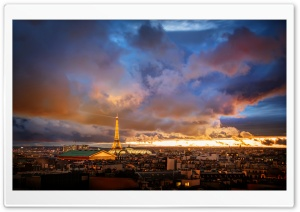Romantic Night in Paris HD Wide Wallpaper for Widescreen