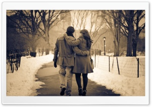 Romantic Walk In The Park HD Wide Wallpaper for Widescreen