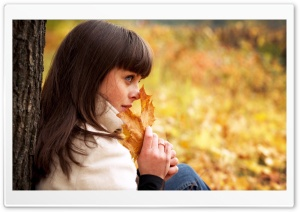 Romantic Woman Autumn HD Wide Wallpaper for Widescreen
