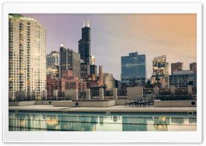 Rooftop Pool Chicago HD Wide Wallpaper for Widescreen