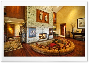 Room With Fireplace HD Wide Wallpaper for Widescreen