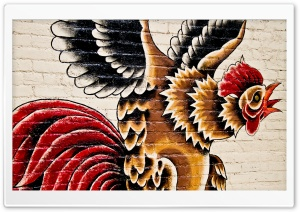 Rooster Street Art HD Wide Wallpaper for 4K UHD Widescreen desktop & smartphone
