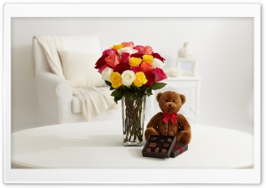 Roses and Chocolate and Teddy Bear HD Wide Wallpaper for Widescreen