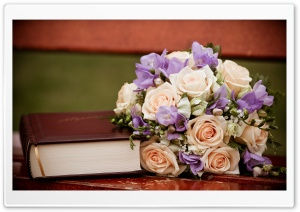 Roses Bouquet And A Book HD Wide Wallpaper for Widescreen