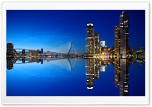Rotterdam Skyline Night HD Wide Wallpaper for Widescreen