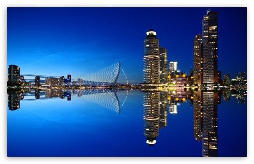 Rotterdam Skyline Night Ultra Hd Desktop Background
