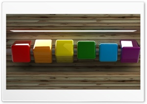 Row of Coloured Cubes HD Wide Wallpaper for Widescreen