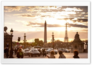 Rush Hour   Place De La Concorde, Paris HD Wide Wallpaper for Widescreen