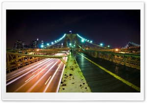 Rush Hour, Brooklyn Bridge, New York City HD Wide Wallpaper for Widescreen