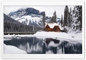 Rustic Cottage, Lake, Mountain, Winter, Snow HD Wide Wallpaper for 4K UHD Widescreen desktop & smartphone