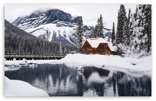 Rustic Cottage Lake Mountain Winter Snow Ultra Hd Desktop Background Wallpaper For 4k Uhd Tv Widescreen Ultrawide Desktop Laptop Tablet Smartphone