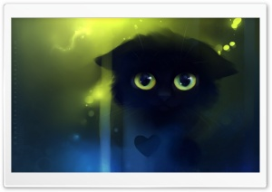 Sad Kitty Painting HD Wide Wallpaper for Widescreen