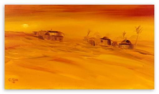 Sahara Desert Oil Painting UltraHD Wallpaper for 8K UHD TV 16:9 Ultra High Definition 2160p 1440p 1080p 900p 720p ; Mobile 16:9 - 2160p 1440p 1080p 900p 720p ;