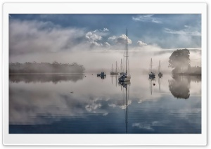 Sailboats In The Fog HD Wide Wallpaper for Widescreen