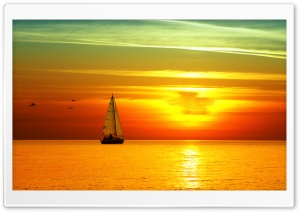 Sailing Boat At Sunset HD Wide Wallpaper for 4K UHD Widescreen desktop & smartphone
