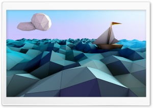 Sailing Boat, Sea, Low Poly Design Ultra HD Wallpaper for 4K UHD Widescreen desktop, tablet & smartphone