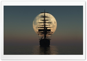Sailing by Moonlight HD Wide Wallpaper for Widescreen