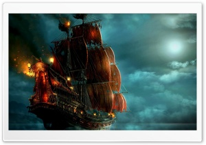 Sailing Ship Painting HD Wide Wallpaper for Widescreen