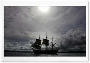 Sailing Ship Silhouette HD Wide Wallpaper for Widescreen