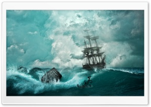 Sailing Ship Storm HD Wide Wallpaper for Widescreen