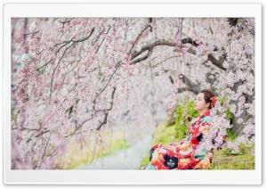Sakura Girl Red Kimono HD Wide Wallpaper For 4K UHD Widescreen Desktop Smartphone