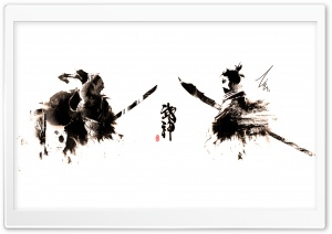 Samurai Ink-Splatter HD Wide Wallpaper for Widescreen